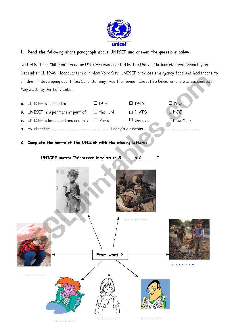 UNICEF - ESL worksheet by marylay