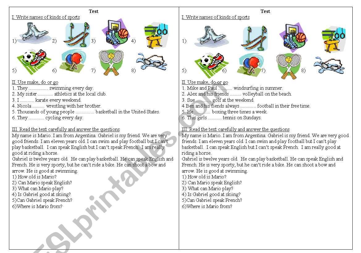 Different kinds of sport worksheet