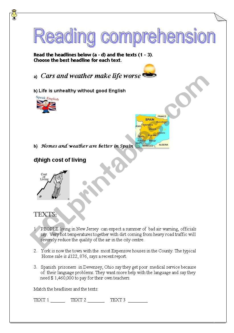 English worksheets: Reading Comprehension A1 : headlines and