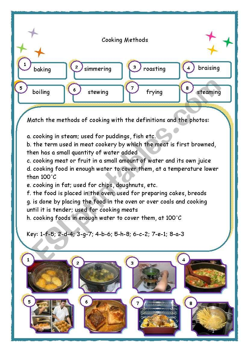 Cooking Methods - ESL worksheet by kissk0960