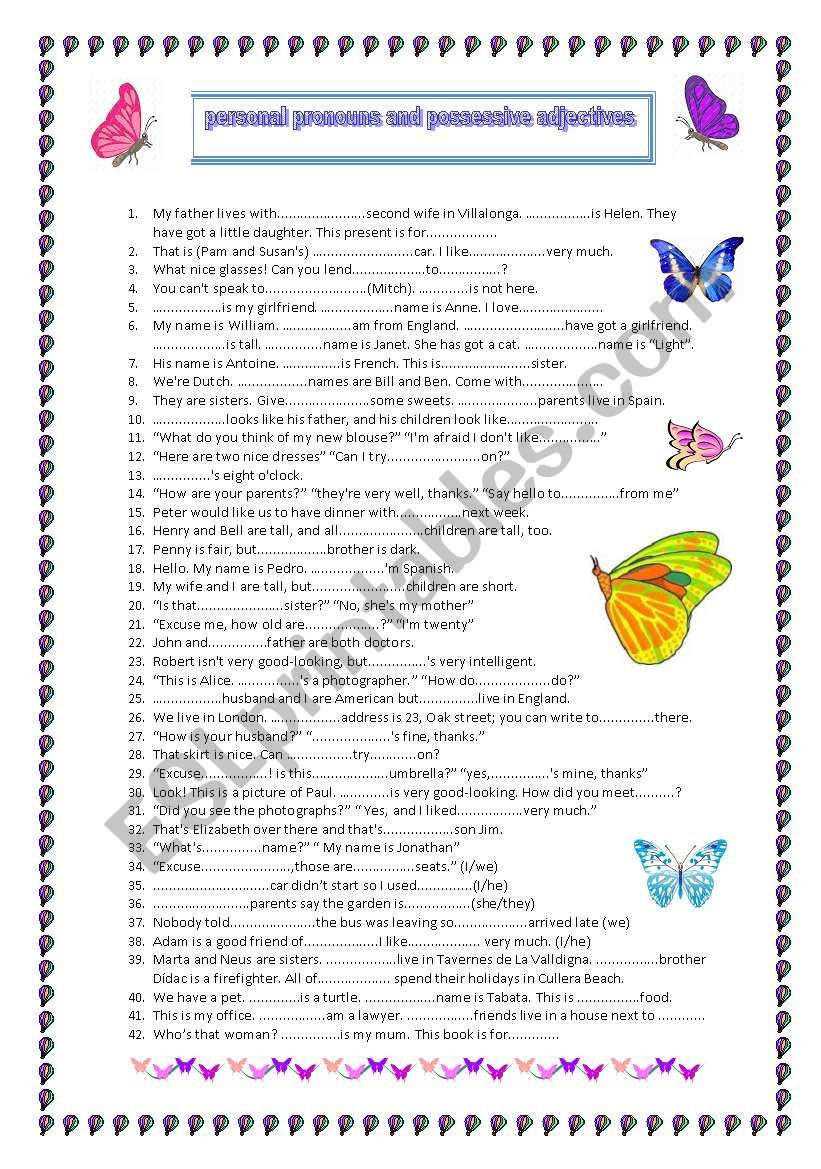 Personal pronouns and possessive adjectives REVISION (A2)