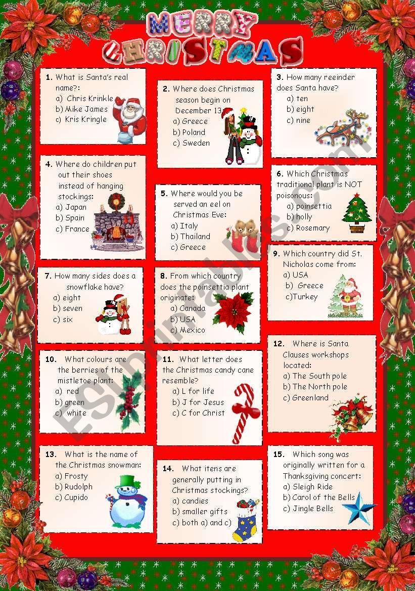 Christmas 2011 - Quiz + key. worksheet