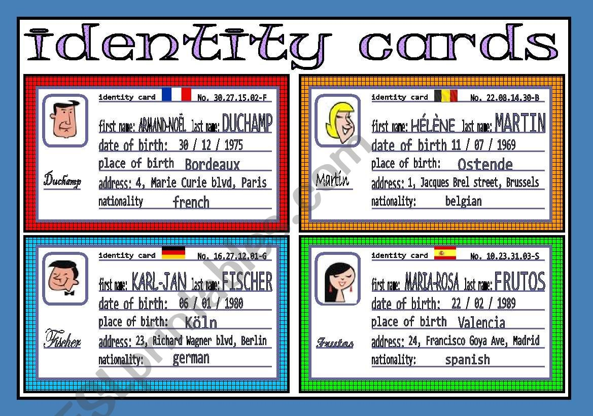 identity cards (1/3) worksheet
