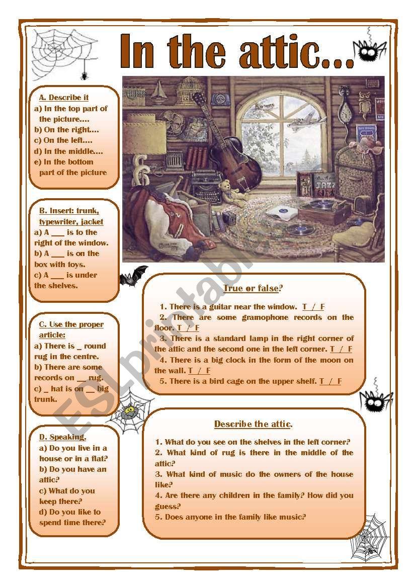 In the attic (picture description, prepositions, articles...)
