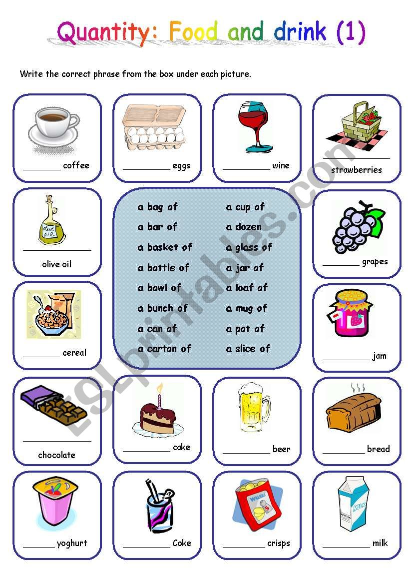 Quantity: Food and drink (1) worksheet