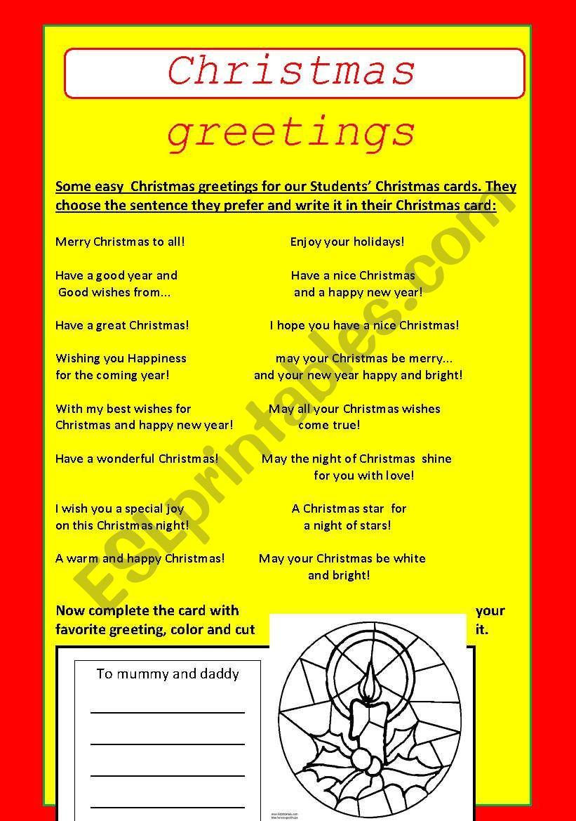 Christmas  greetings worksheet