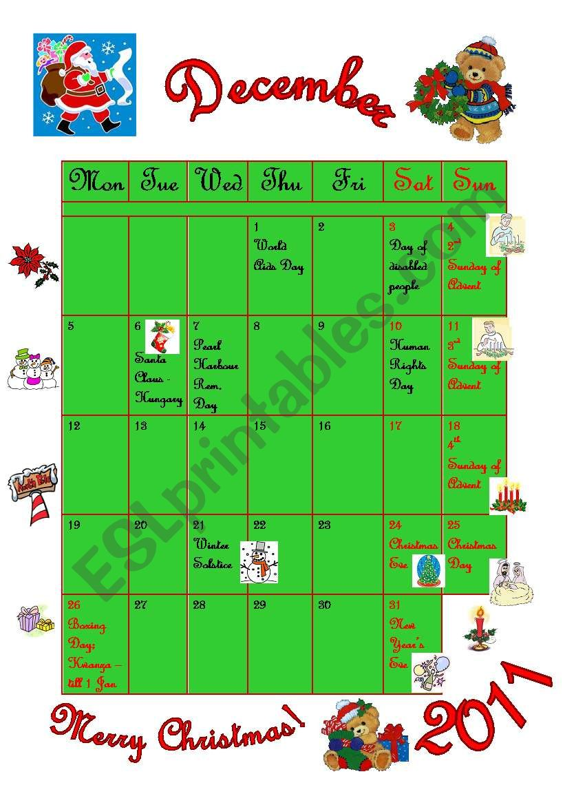 December - calendar worksheet