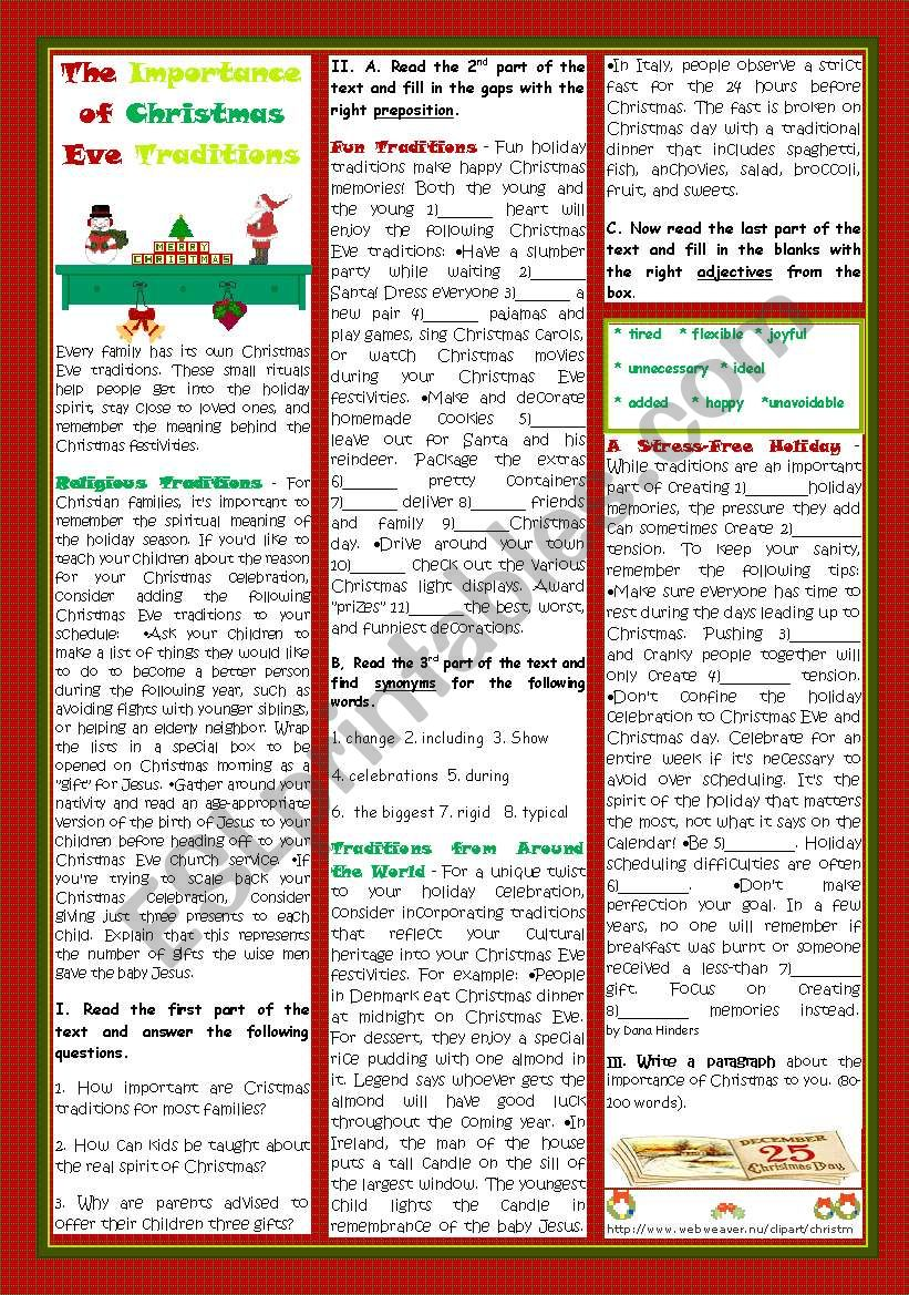THE IMPORTANCE OF CHRISTMAS EVE TRADITIONS - ESL worksheet by teresapr