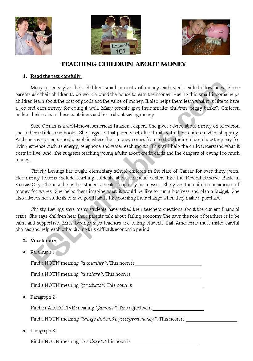 activity on money worksheet