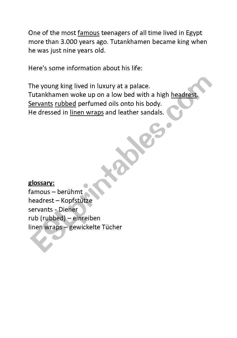Info cards on Tutanchhamen worksheet