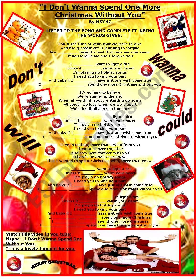 A CHRISTMAS SONG BY NSYNC - ESL worksheet by beauty and the best