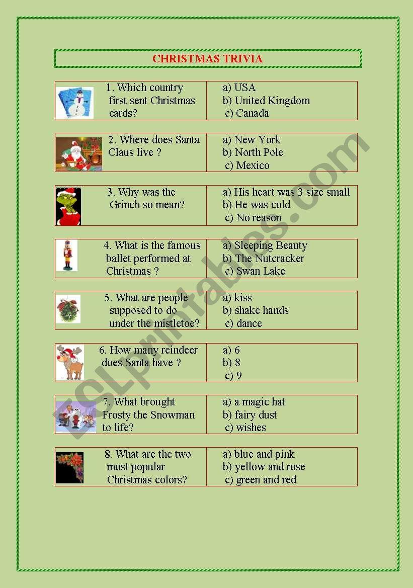 Christmas Trivia worksheet