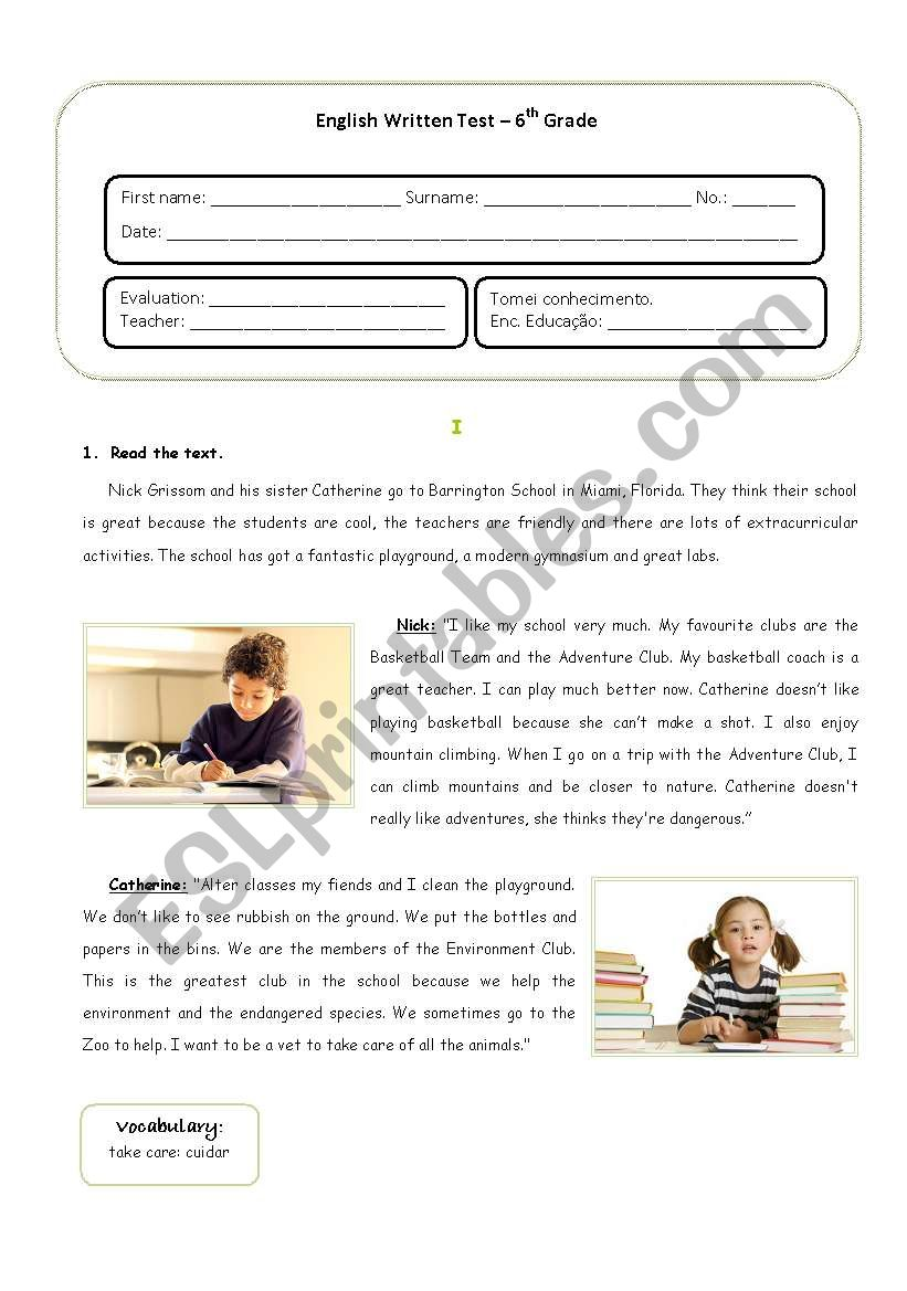 English test about School and Extra-curricular Activities for 6th grades – Portuguese Students (With answer key included)