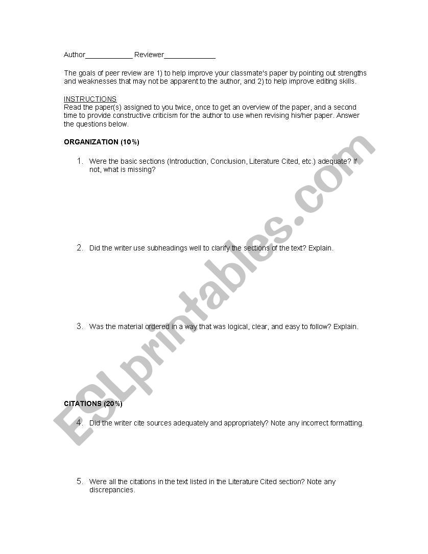 English Worksheets Article Peer Review