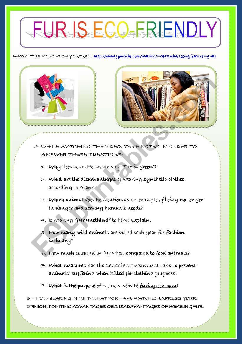 What Is Eco >> Fur Is Eco Friendly Environment Shopping Esl Worksheet