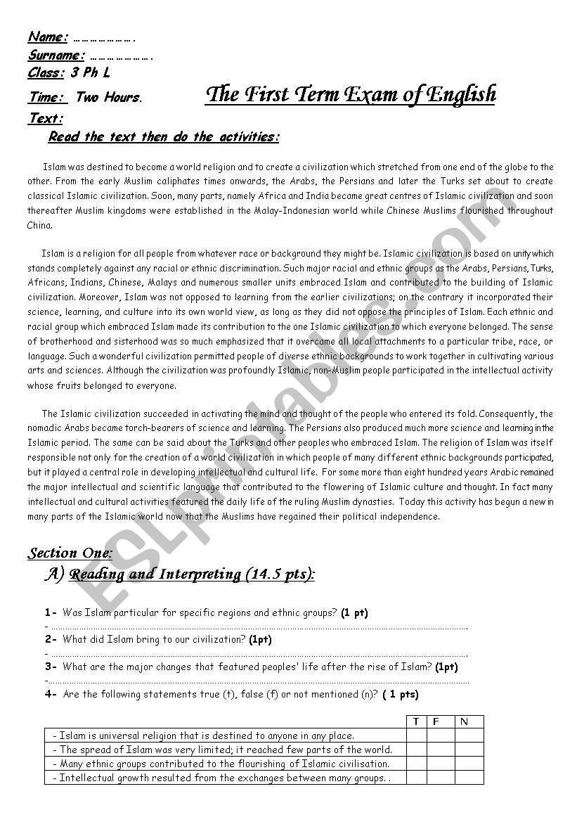 First term examination worksheet