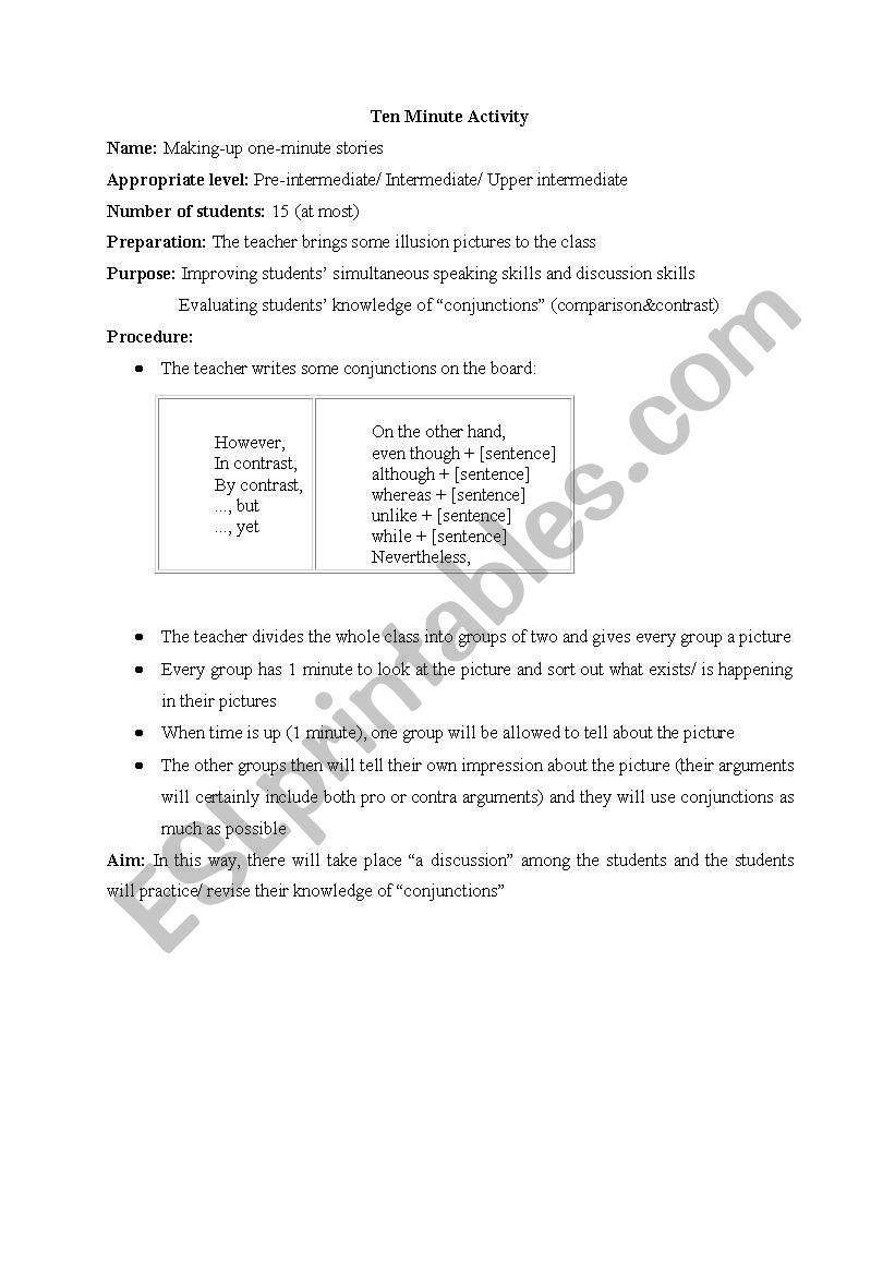 ten minute activity worksheet