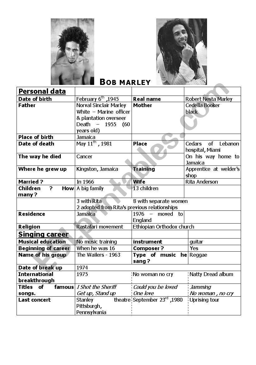 Bob Marley worksheet