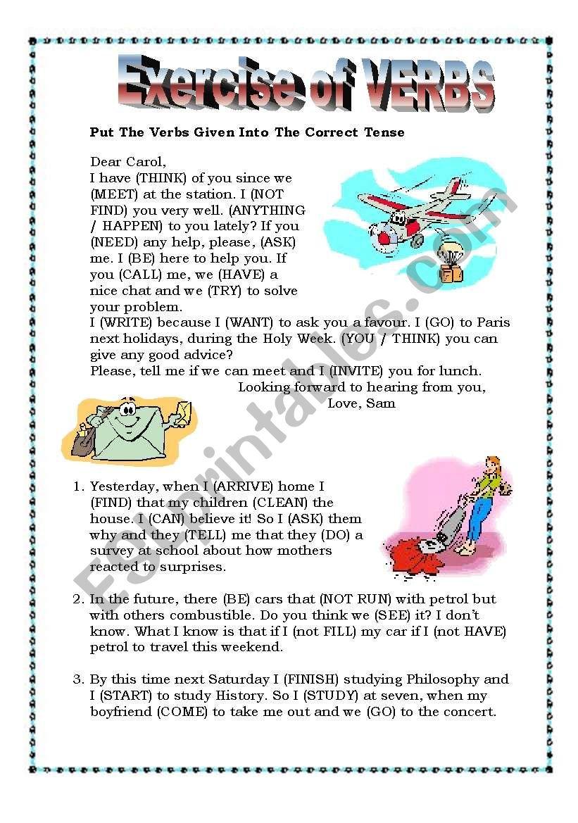 Exercise of Verbs worksheet