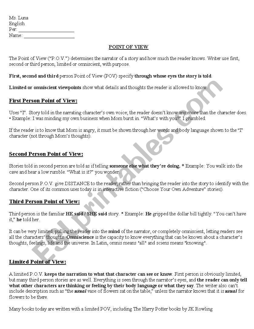 English worksheets: Point of View worksheet