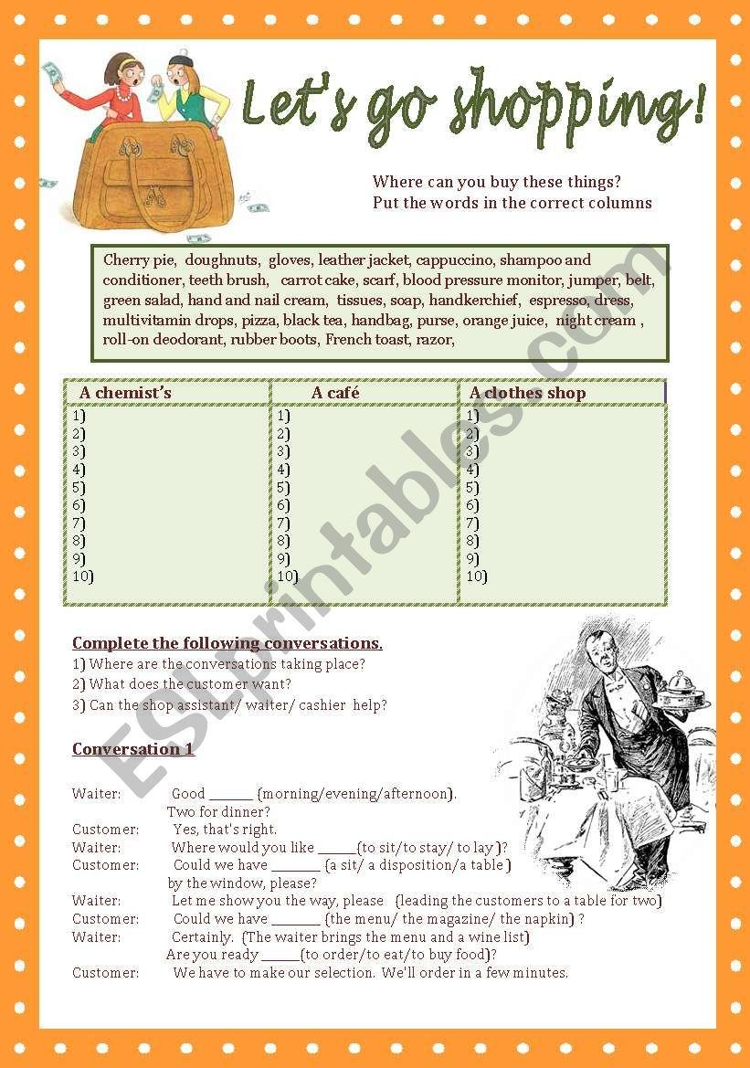 Let´s go shopping! - ESL worksheet by savvinka