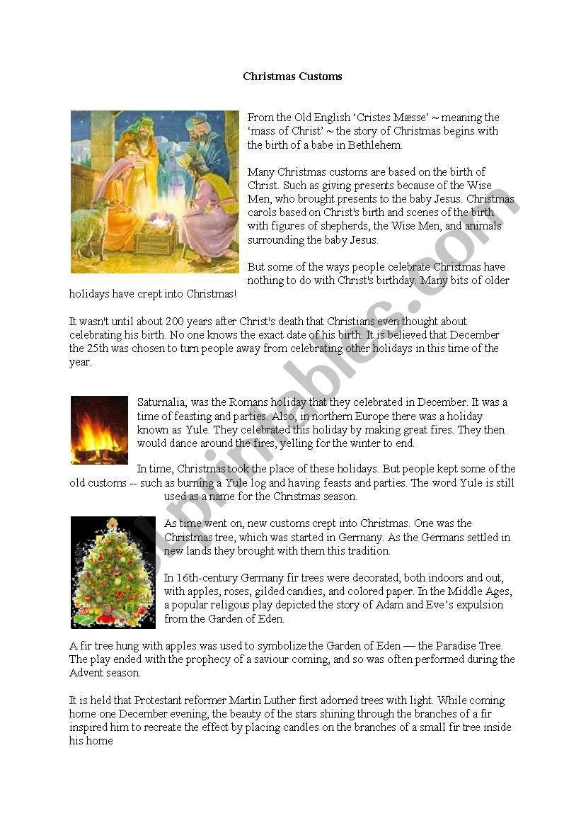 CHRISTMAS CUSTOMS worksheet