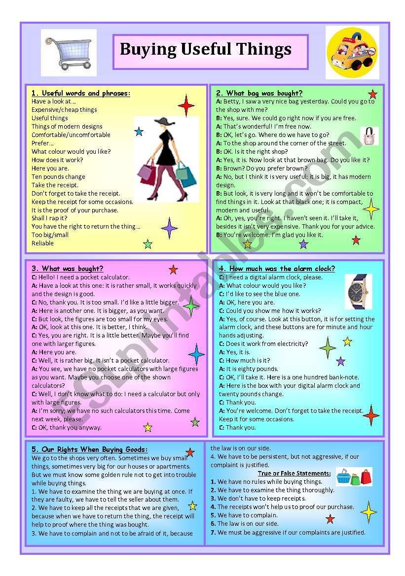 Buying Useful Things worksheet