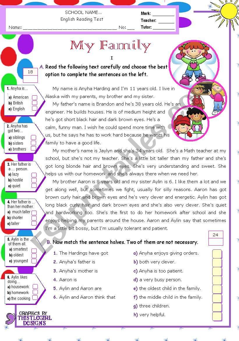 My Family  -  Reading Test worksheet