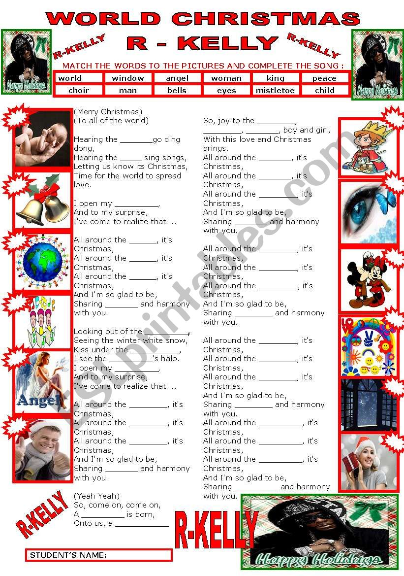 SONG - WORLD CHRISTMAS BY R-KELLY - ESL worksheet by beauty and the best