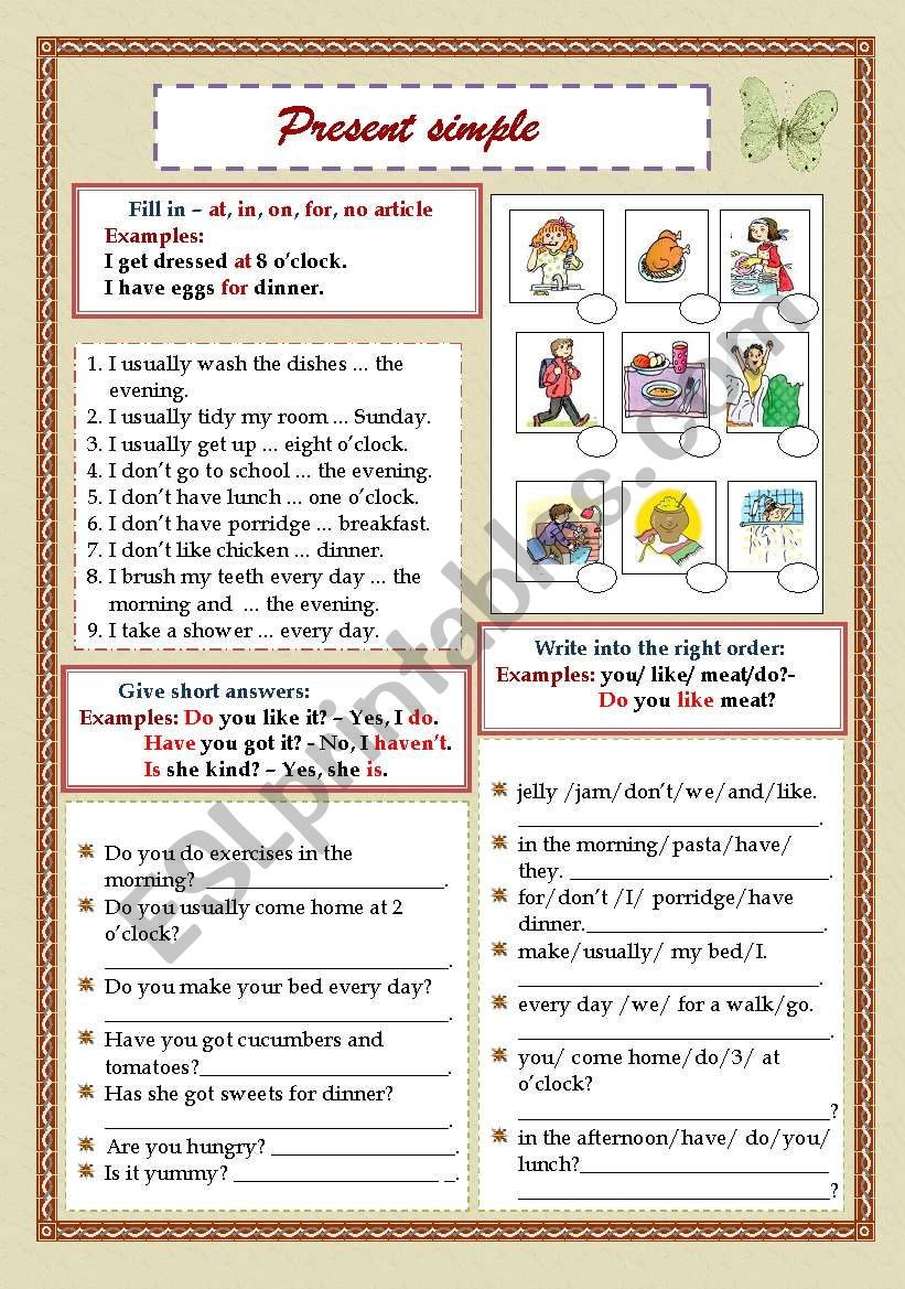 Present Simple (My work day) - Prepositions/Short answers/Word order (Pictures)