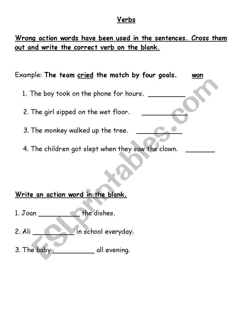Action words worksheet