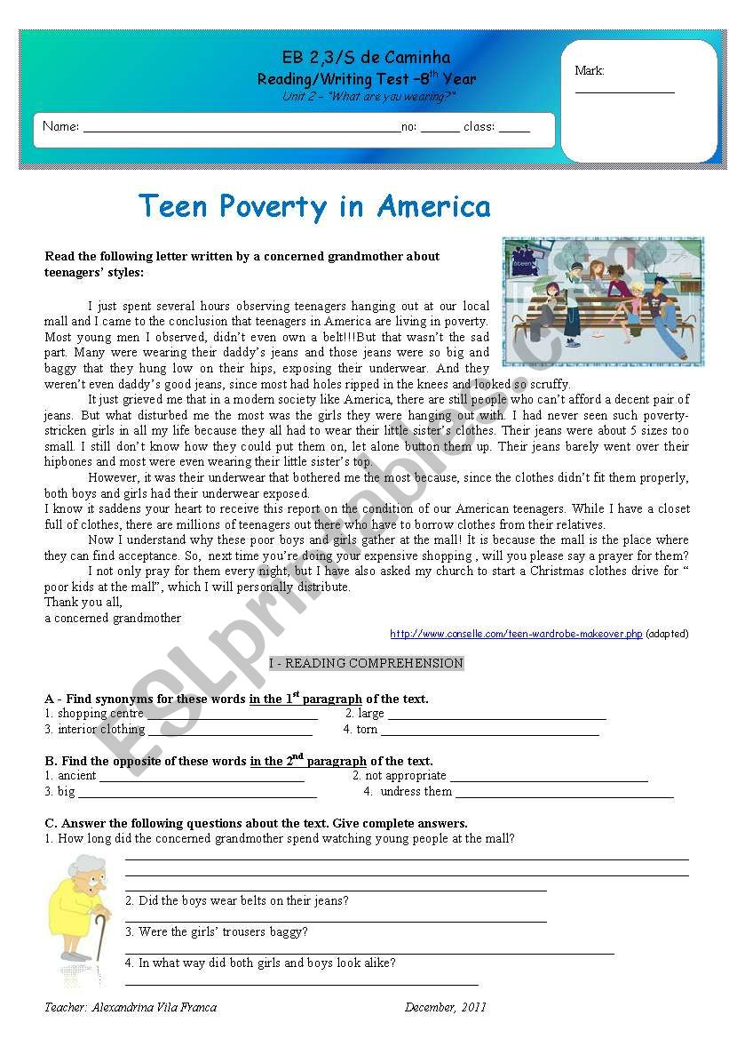Test - teen Poverty in America