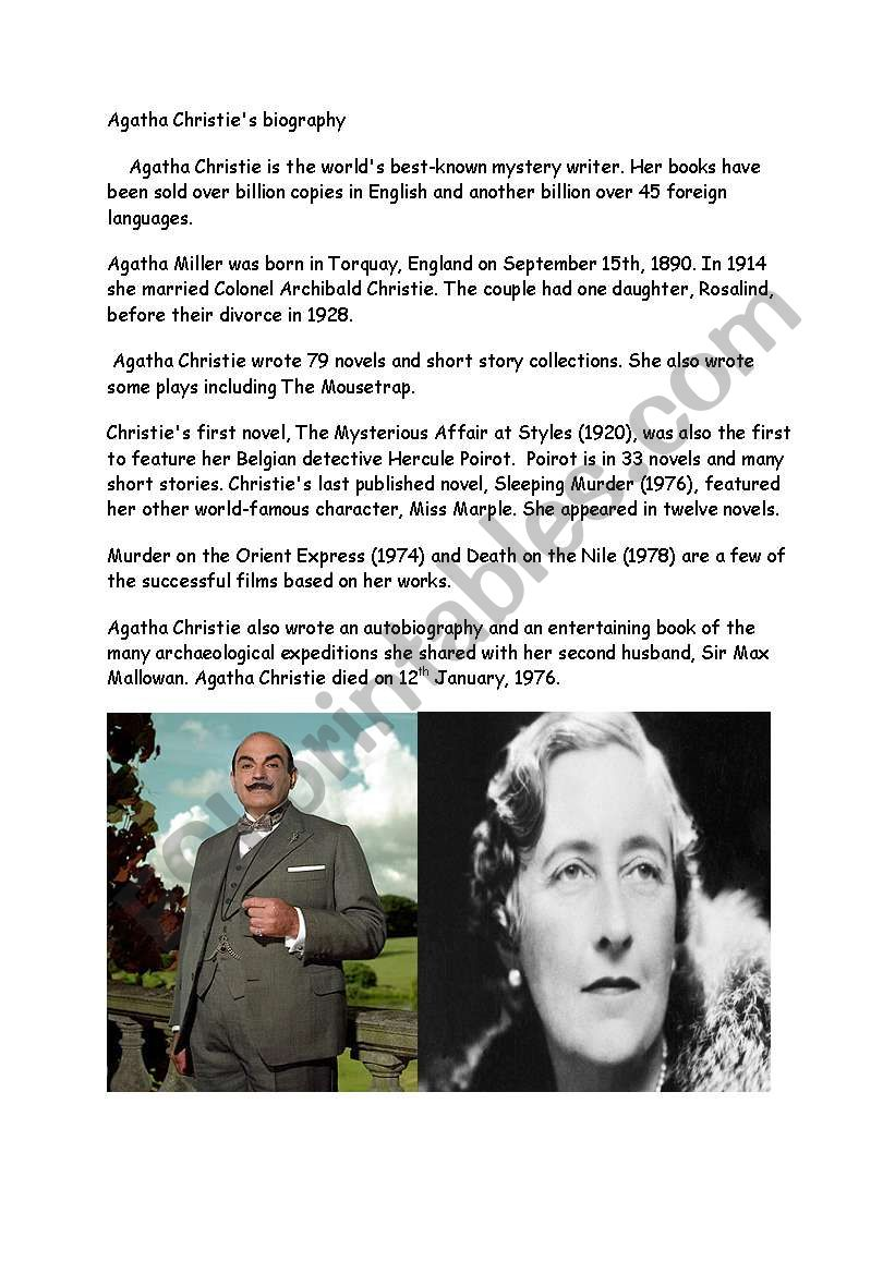 Agatha Christie Reading Comprehension