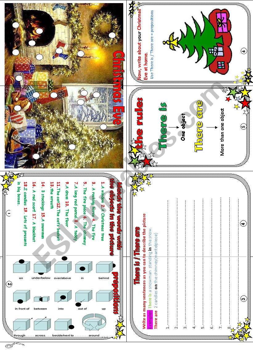 Christmas Eve minibook : Christmas+there is/there are + prepositions.