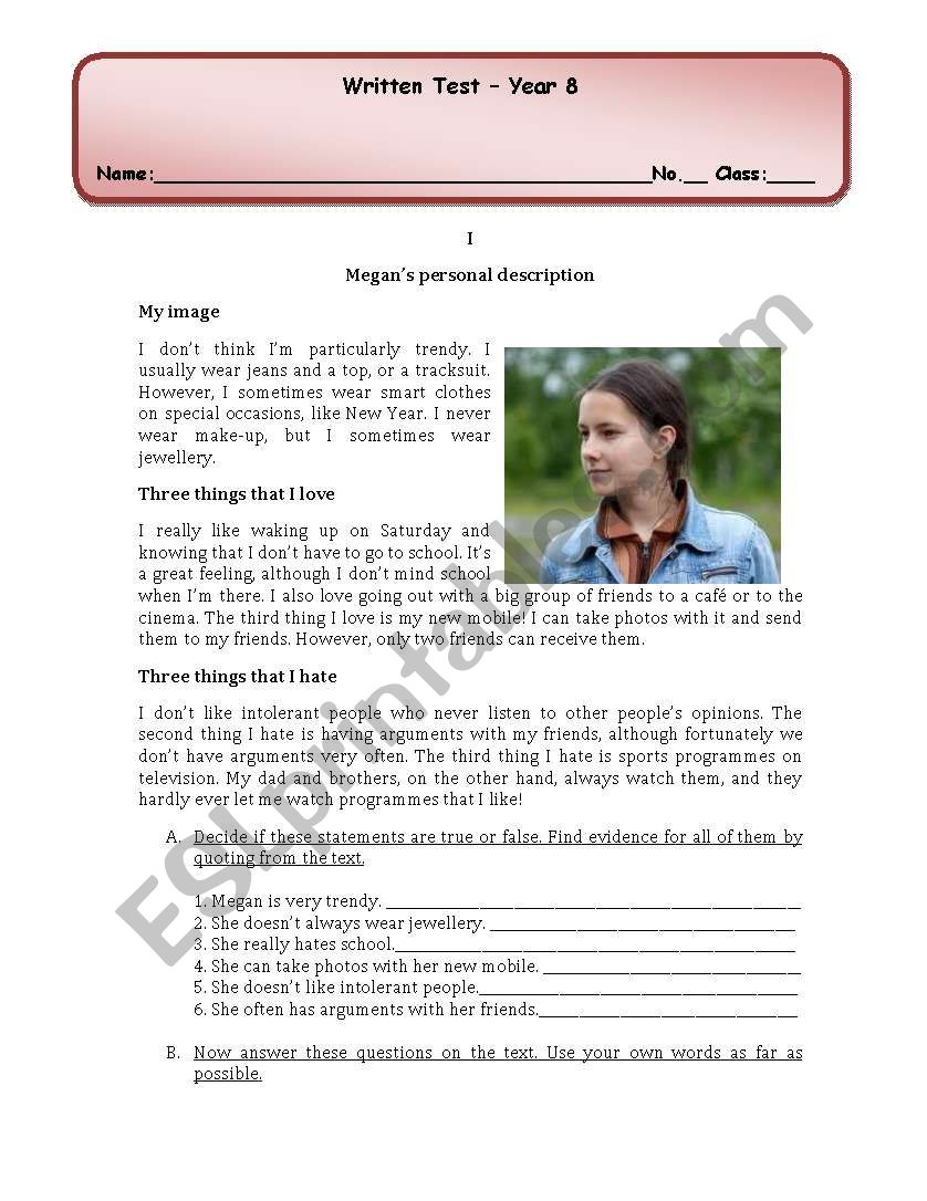 test personal description/ present simple/present continuous/past simple
