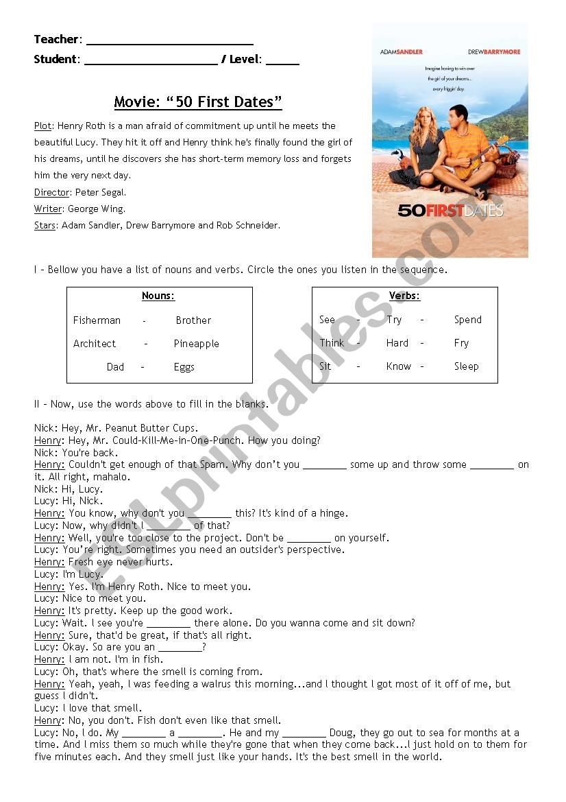 Movie lesson: 50 first dates (Now with key)
