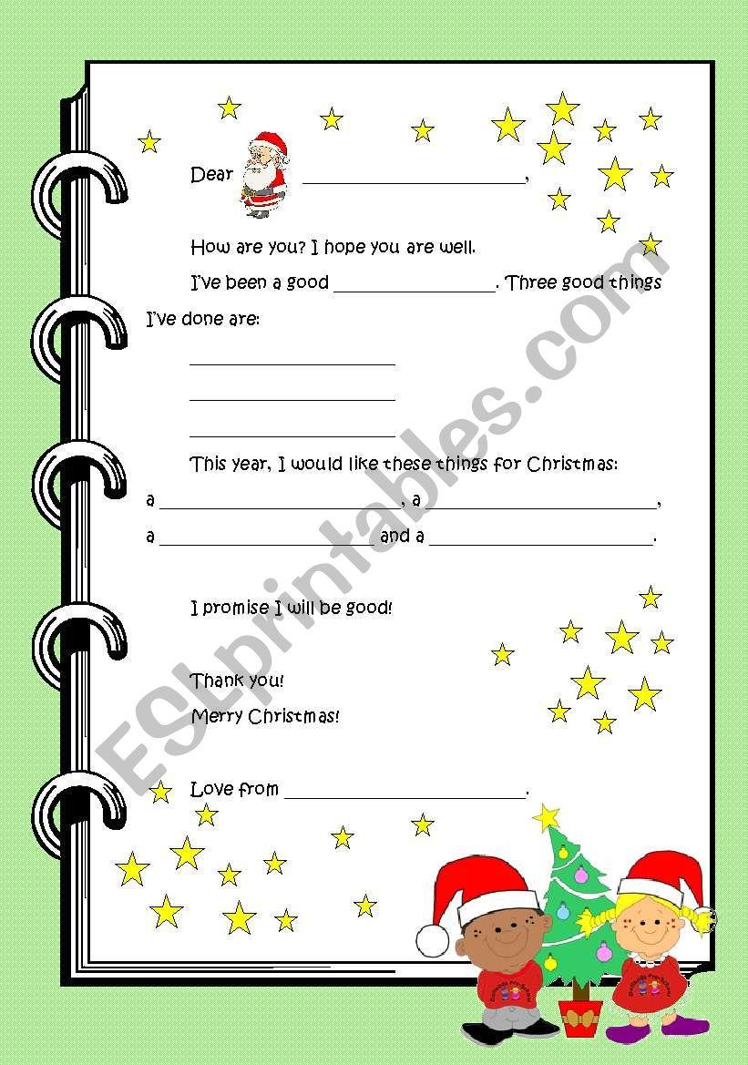 Letter to Santa Claus worksheet
