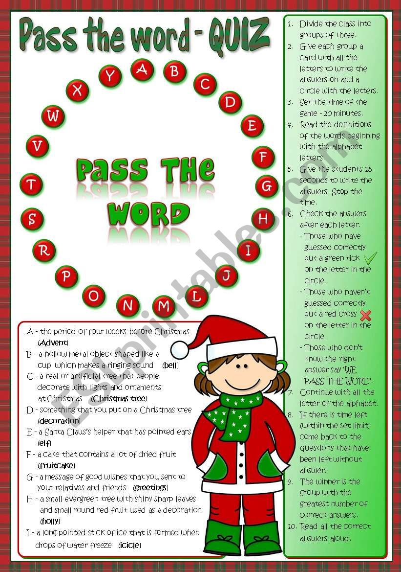 Pass the word - Christmas quiz