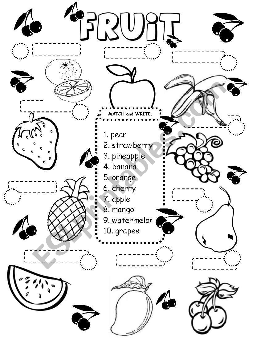 FRUIT worksheet - ESL worksheet by iamirish21