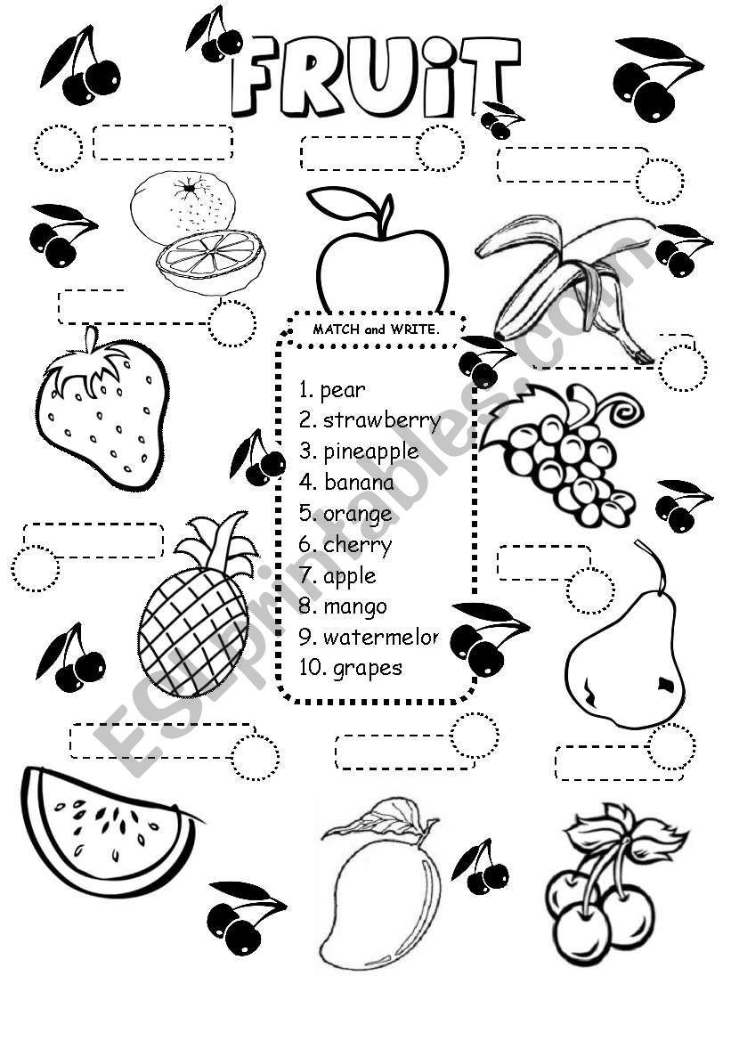 FRUIT worksheet - ESL worksheet by iamirish21
