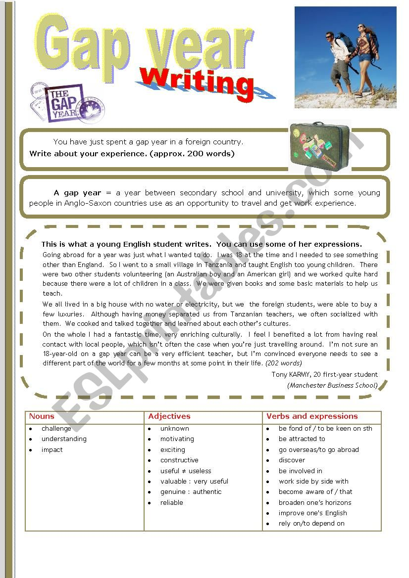 Gap Year WRITING worksheet