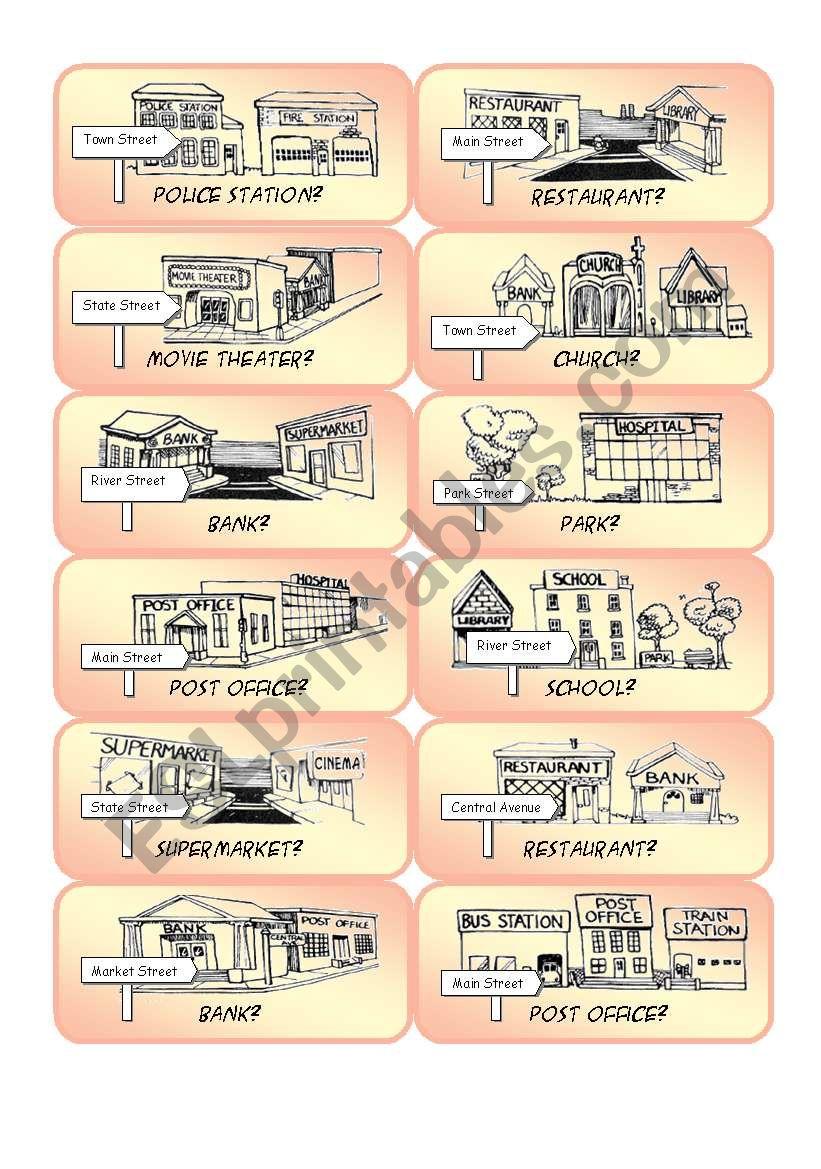 Mini Town Cards - Set 2 worksheet