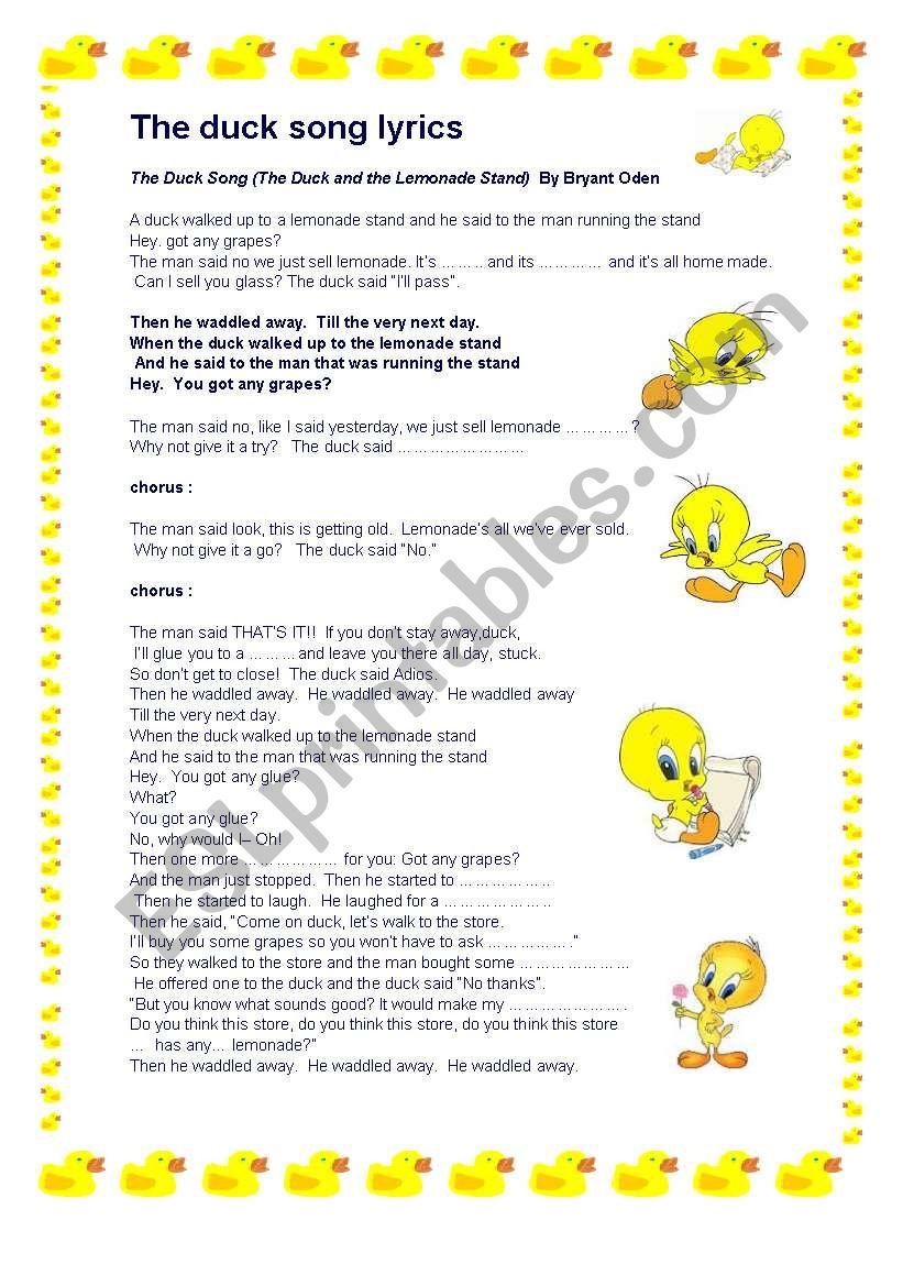 The Duck Song Esl Worksheet By Nataliaalmoines