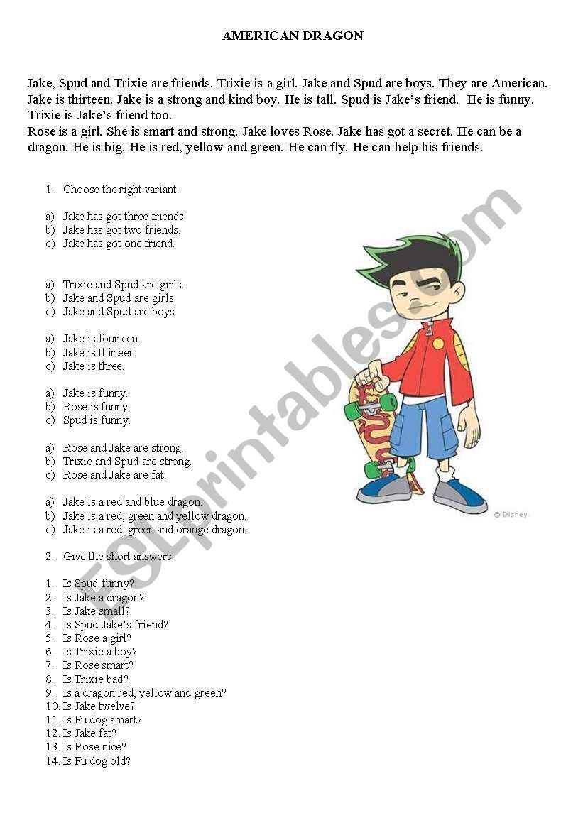 American dragon reading+questions to check understanding
