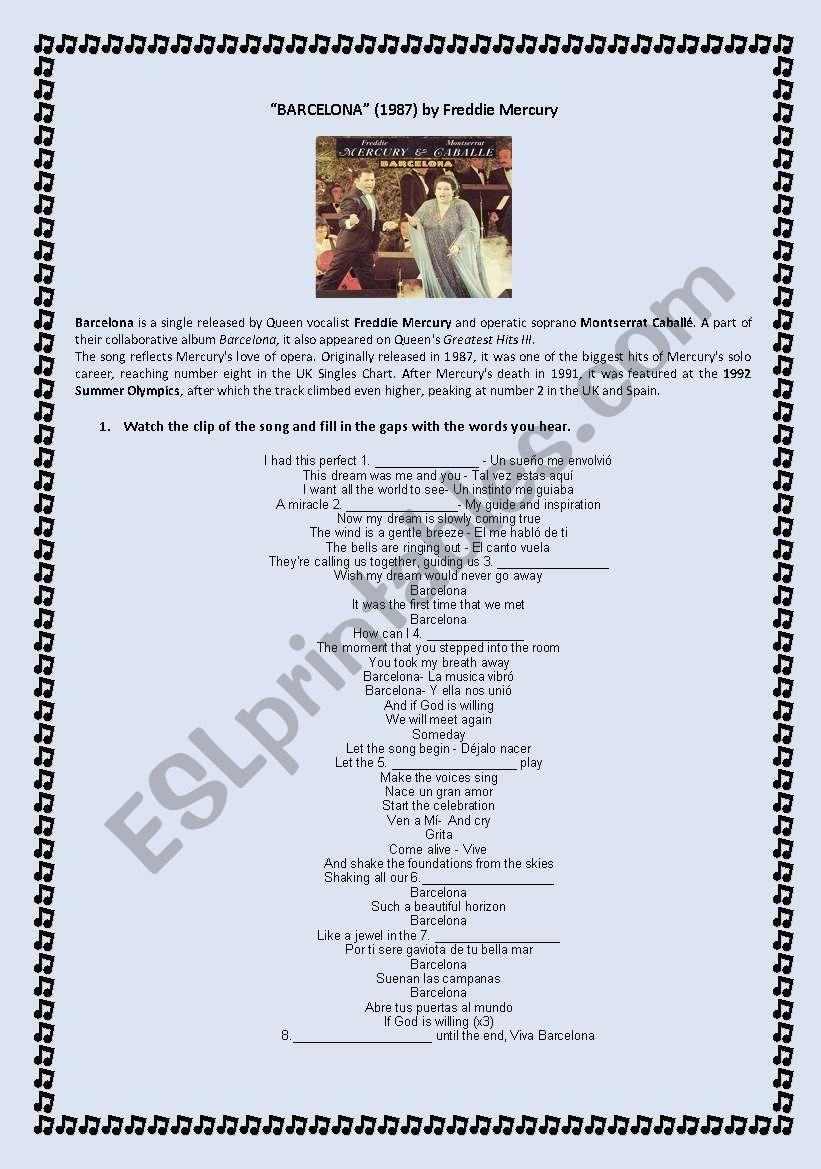 Song: BARCELONA by Freddie Mercury