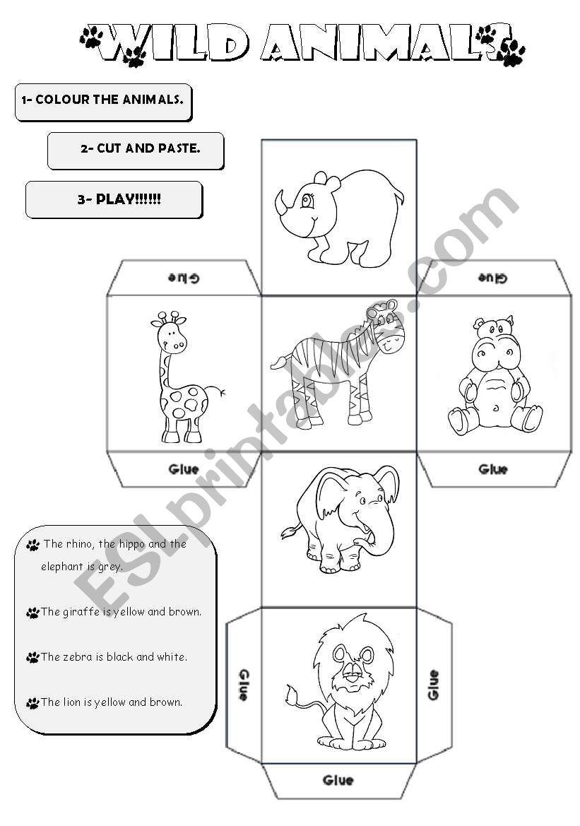 Animal Dice Jungle worksheet