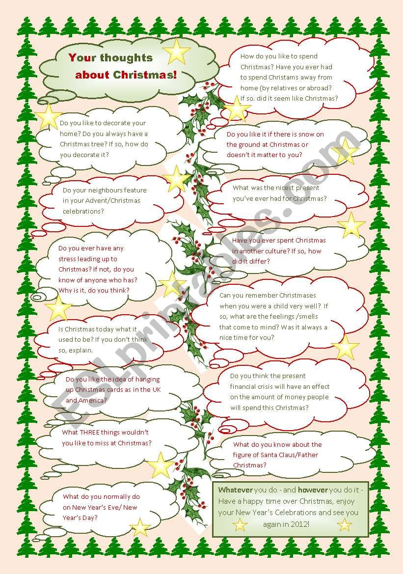 Your thoughts about Christmas - ESL worksheet by Amanda W