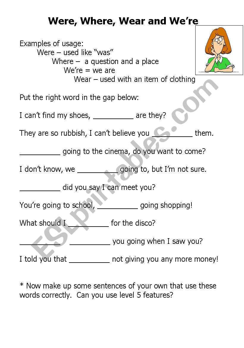 Great worksheet for practice of your vs  you're  I will use this as also Know Your Homophones  where  were and we're Worksheet   Elace moreover were where we´re   ESL worksheet by joanne8969 besides Your You Re Worksheets Math Green Ladder Math Games Worksheet Math furthermore  together with position Mini Lesson  61 Their  There  and They're  To  Too  and additionally they're their there  it's its  you're your  way weigh – and other as well Learning Worksheets Their There They Re Worksheet For Kindergarten as well Differentiated worksheet Y4 5 their they're there your you're together with  additionally You're and Your   Apostrophe Worksheet moreover your you re worksheet math – artmagic club in addition Using Your and You're Lesson Plan and Worksheet by likewise Resources Phonics Worksheets For Pre K Pdf Re 5th Grade Math also Your Vs You Re Worksheet – 7th Grade Math Worksheets moreover Homonyms There Their They Re Worksheets Homographs Worksheets Fourth. on your and you re worksheet