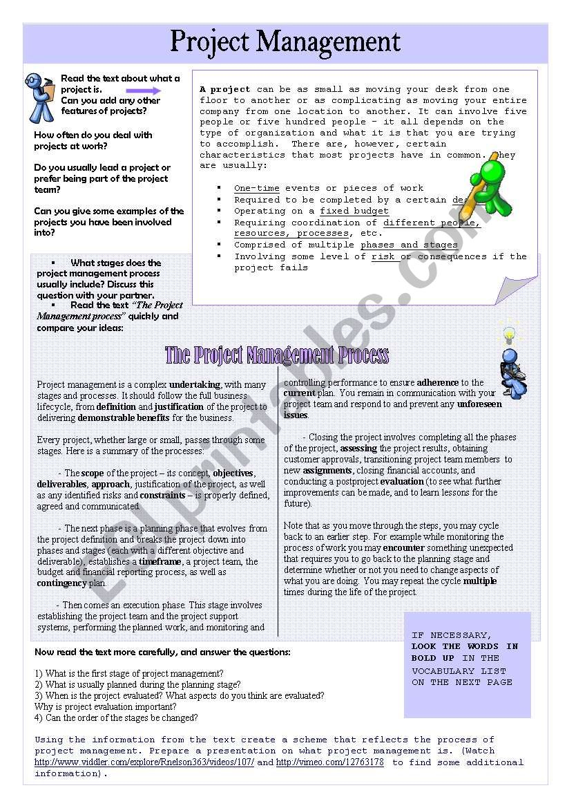 Project Management - ESL worksheet by 0Lynxy0