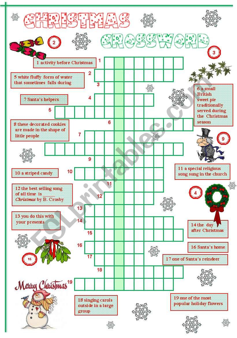 photograph about Christmas Crossword Printable known as Xmas Crossword - ESL worksheet by means of Szilvi